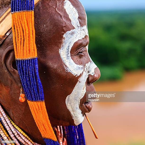portrait of woman from karo tribe, ethiopia, africa - african tribal face painting stock photos and pictures