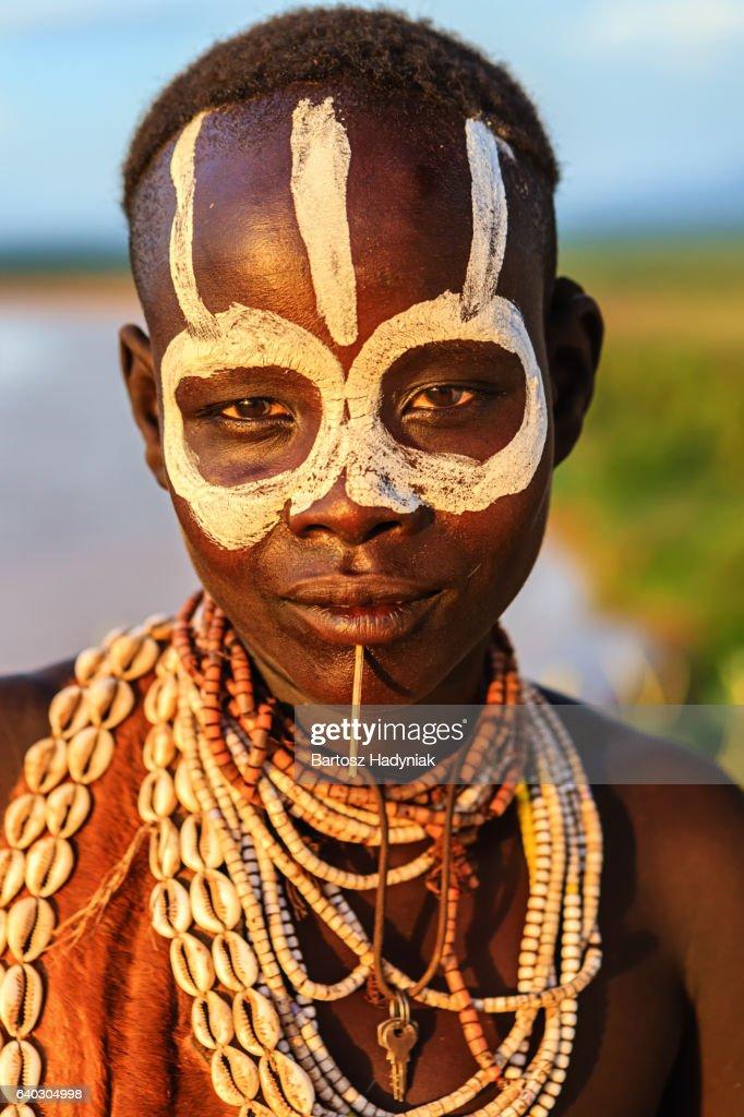 Portrait of woman from Karo tribe, Ethiopia, Africa : Stock Photo