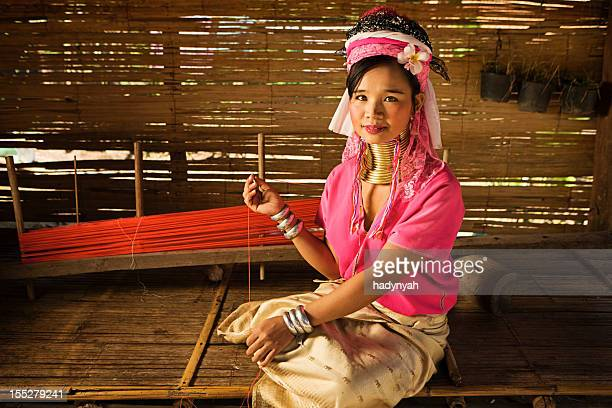 portrait of woman from long neck karen tribe - myanmar culture stock pictures, royalty-free photos & images