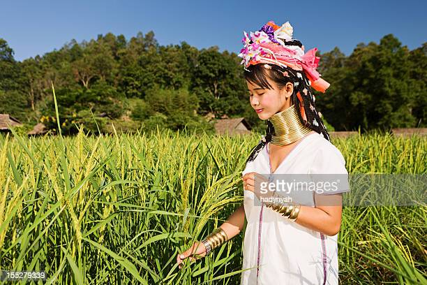 portrait of woman from long neck karen tribe - myanmar culture stock photos and pictures