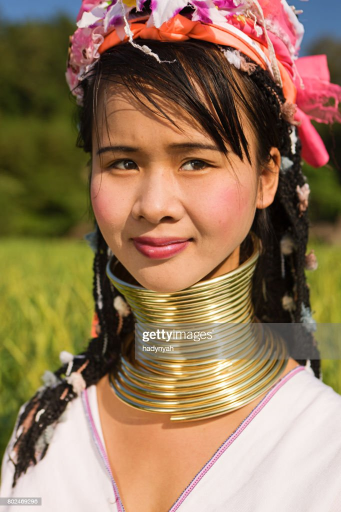 Portrait of woman from Long Neck Karen Tribe : Stock Photo