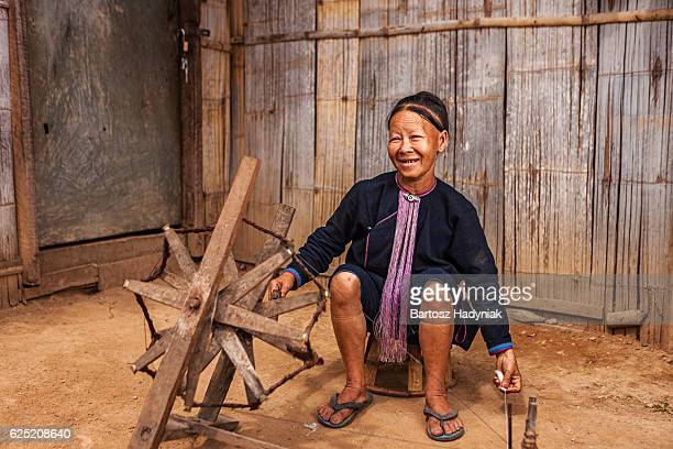 Portrait of woman from the Lantan hill tribe in Laos