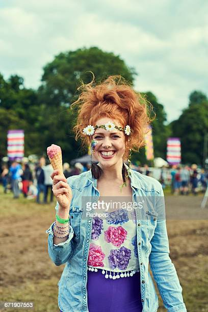 portrait of woman having fun at a music festival - festival goer stock pictures, royalty-free photos & images
