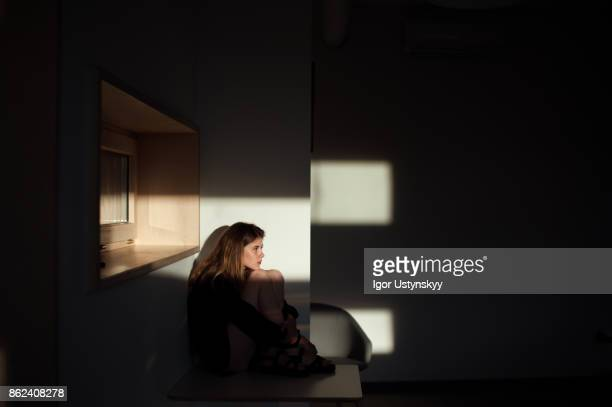 Portrait of woman in apartment