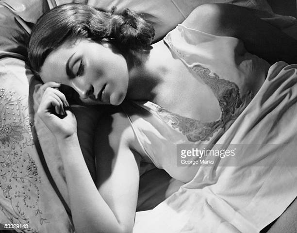 Portrait of woman in bed sleeping