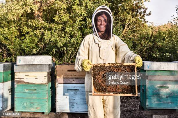 portrait of woman in beekeeper dress holding a hive frame full of bees - 養蜂 ストックフォトと画像