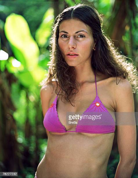 portrait of woman (25-30 years) in bikini in tropical environment - 25 29 years stock pictures, royalty-free photos & images