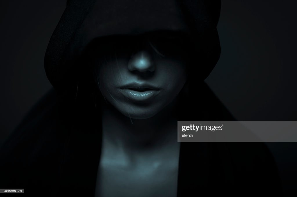 Portrait Of Woman In Darkness : Stock Photo
