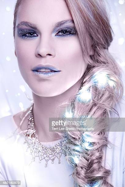 Portrait of woman in frosty make-up