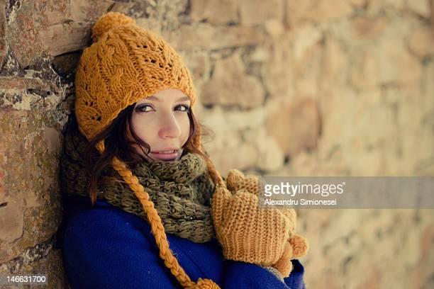 Portrait of woman in full winter