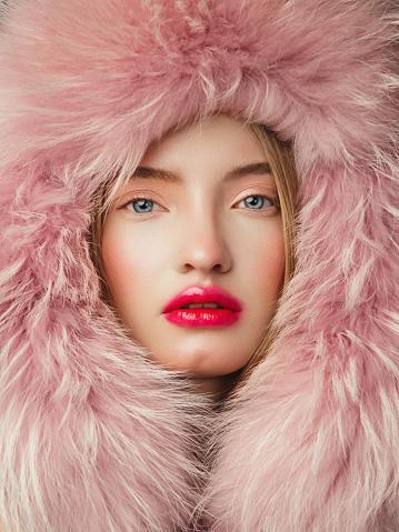 Portrait of woman in fur hat - gettyimageskorea