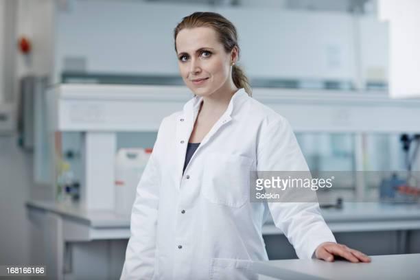 portrait of woman in laboratory