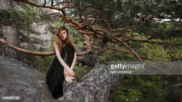 Portrait of woman in mountains