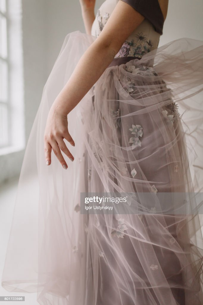 Portrait Of Woman In Pink Prom Dress In Studio High Res Stock Photo Getty Images