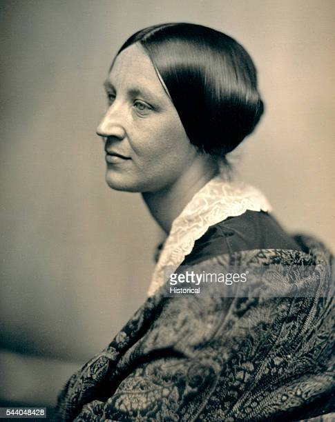 A portrait of woman in profile with a lace collar and shawl circa 1850 The image is from a daguerreotype by photographers Southworth Hawes The...