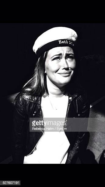 portrait of woman in sailors hat - sailor hat stock pictures, royalty-free photos & images