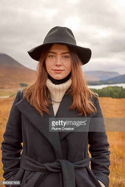 Portrait of woman in Scottish countryside