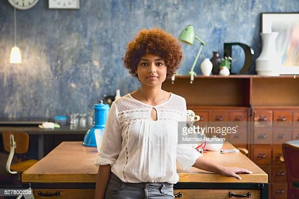 Portrait of woman in shop