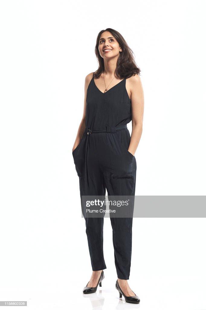 Portrait of woman in studio : Stock-Foto