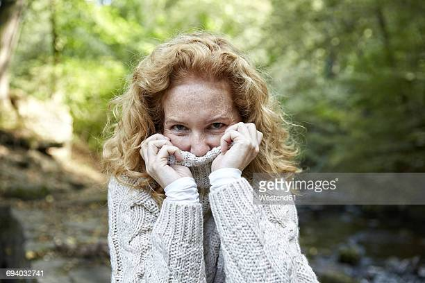 portrait of woman in the nature - turtleneck stock pictures, royalty-free photos & images