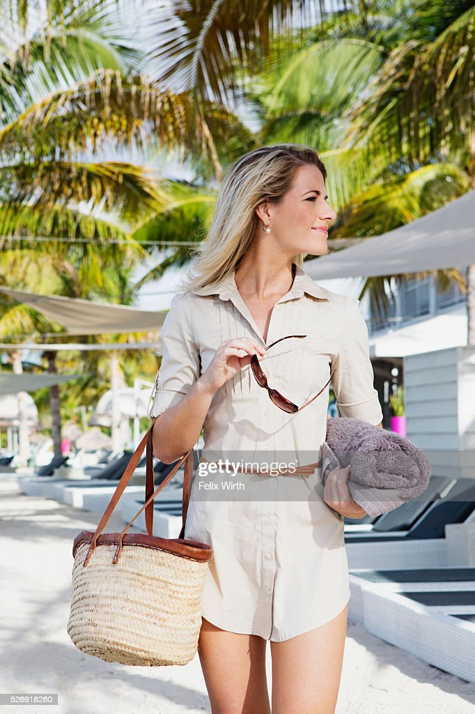 Portrait of woman in tourist resort : Stock Photo
