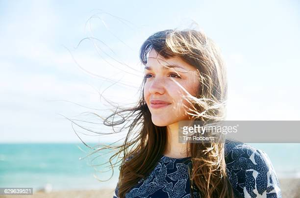 portrait of woman in wind. - mindfulness stock pictures, royalty-free photos & images