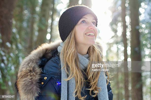 portrait of woman in wintery landscape