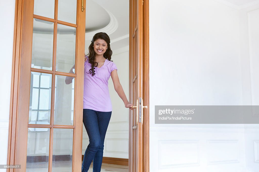 Portrait of woman inside new house : Stock Photo
