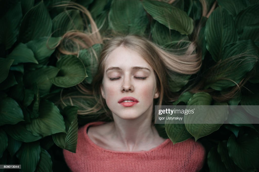 Portrait of woman laying on the green leaves : Stock-Foto
