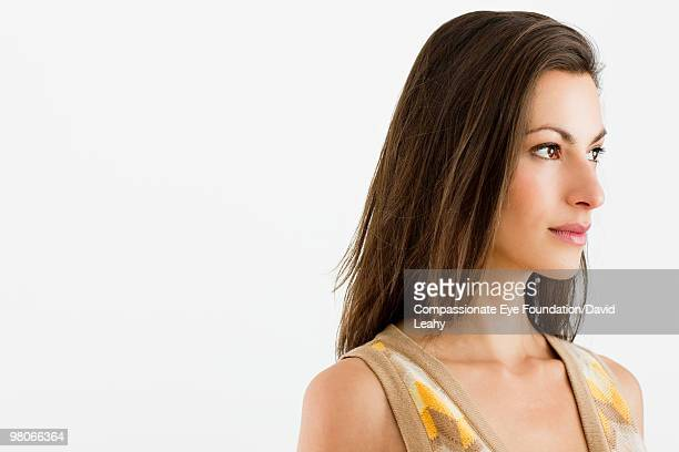 "portrait of woman looking off in the distance - ""compassionate eye"" stock pictures, royalty-free photos & images"