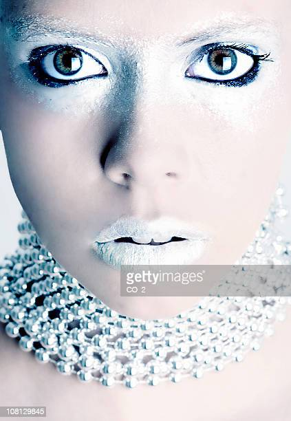 Portrait of Woman Model With Silver Make-up On