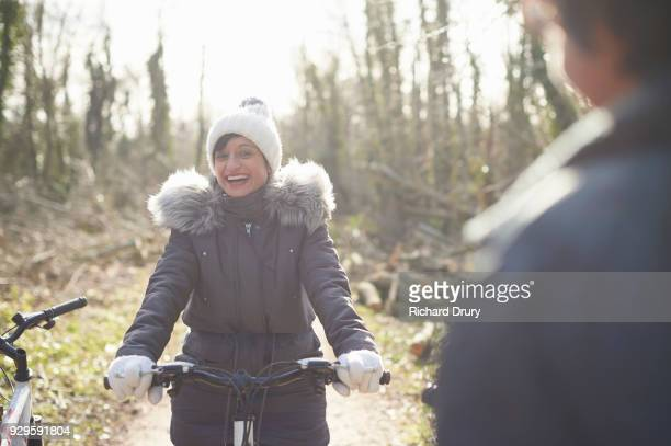 Portrait of woman on cycle track