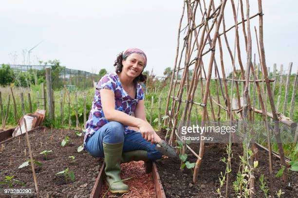 Portrait of woman on her allotment