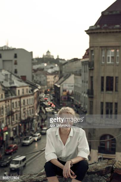Portrait  of woman  on the roof