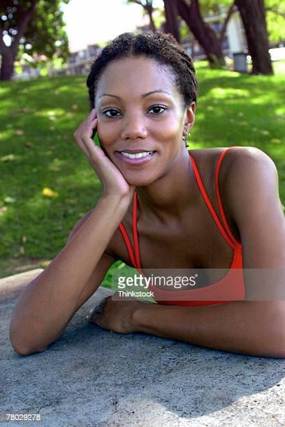 portrait of woman outdoors - thinkstock stock-fotos und bilder