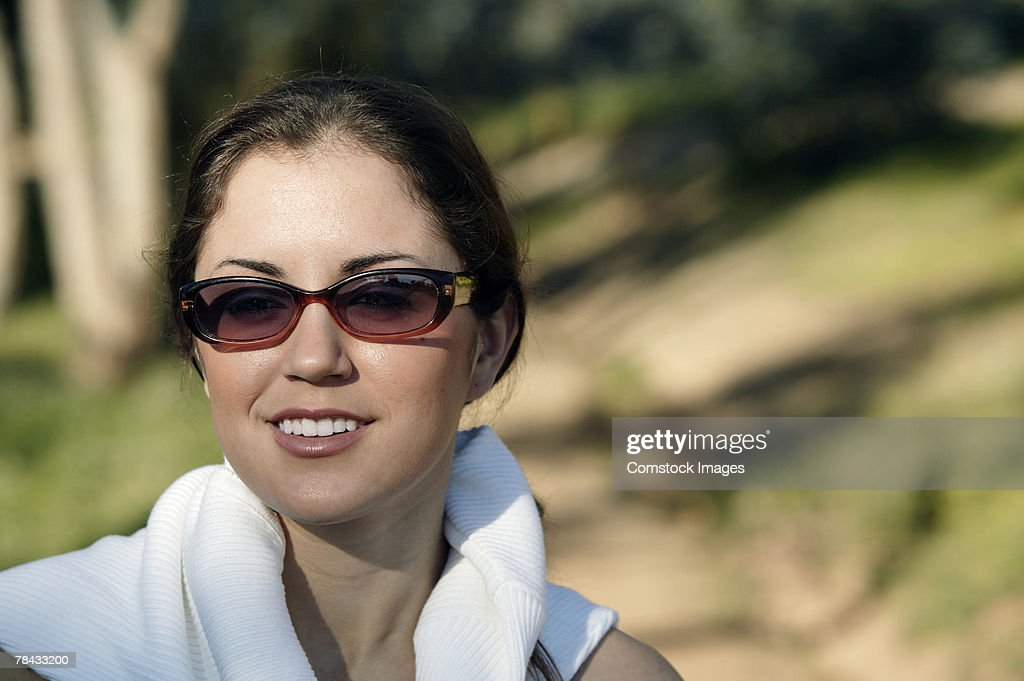 Portrait of woman outdoors : Stockfoto