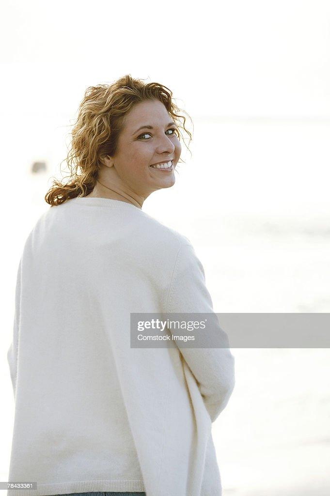 Portrait of woman outdoors : Stockfoto