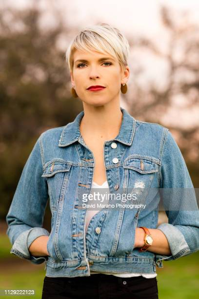 portrait of woman - denim jacket stock pictures, royalty-free photos & images
