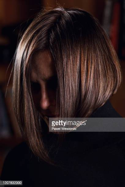 portrait of woman - obscured face stock pictures, royalty-free photos & images