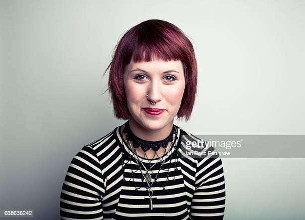 portrait of woman - piercing stock-fotos und bilder