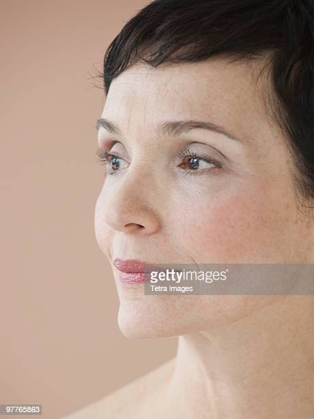 portrait of woman - liver spot stock photos and pictures