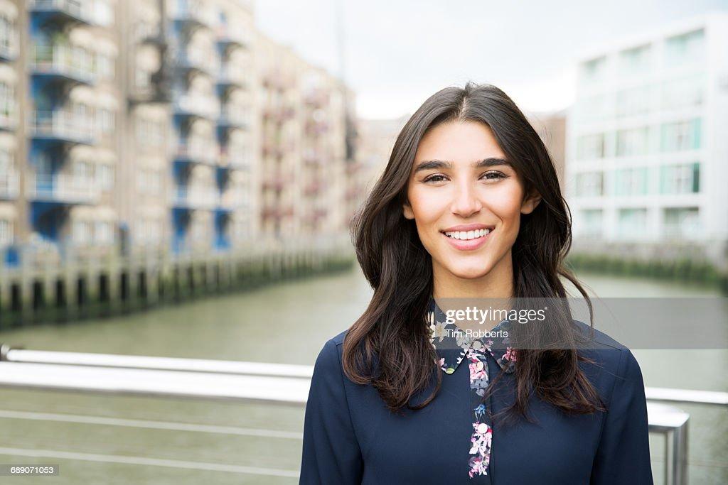 Portrait of woman smiling : Stock Photo