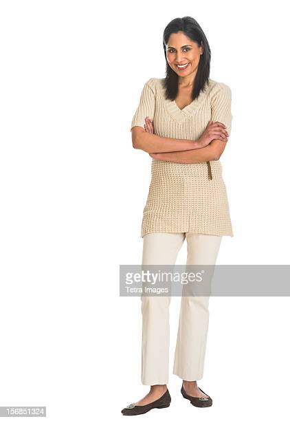 portrait of woman smiling, studio shot - indian subcontinent ethnicity stock pictures, royalty-free photos & images