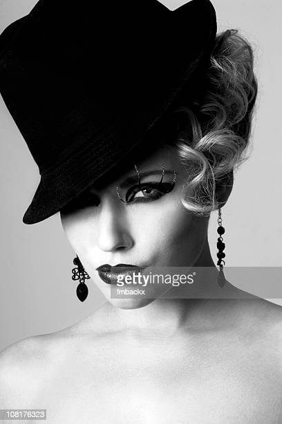 Portrait of Woman Wearing Hat, Black and White