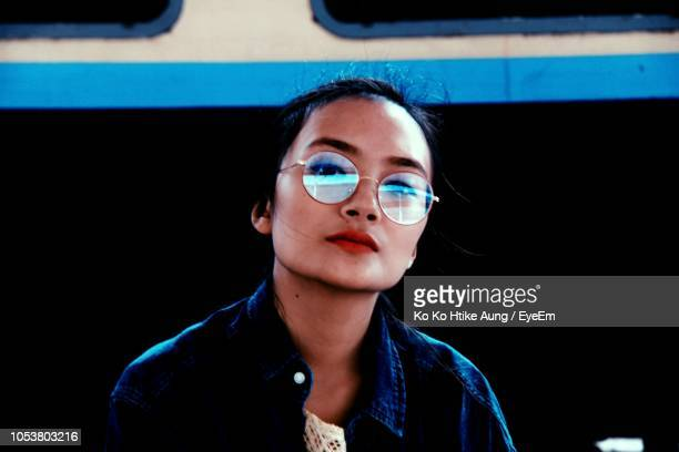 portrait of woman wearing sunglasses - ko ko htike aung stock pictures, royalty-free photos & images