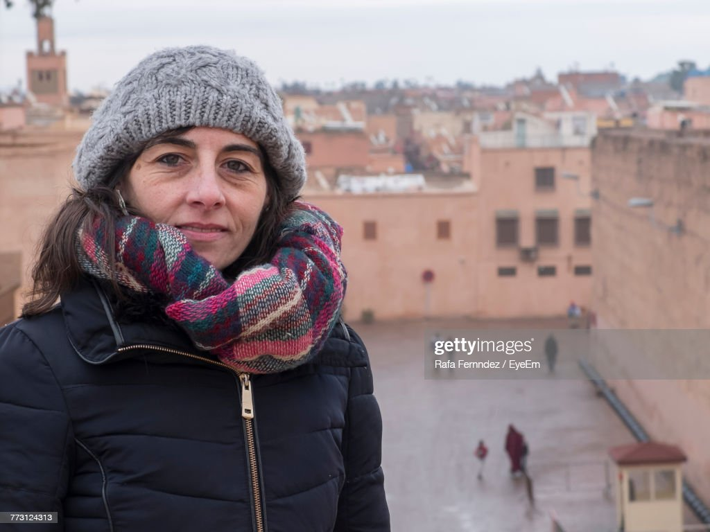 Portrait Of Woman Wearing Warm Clothing During Winter : Stock Photo