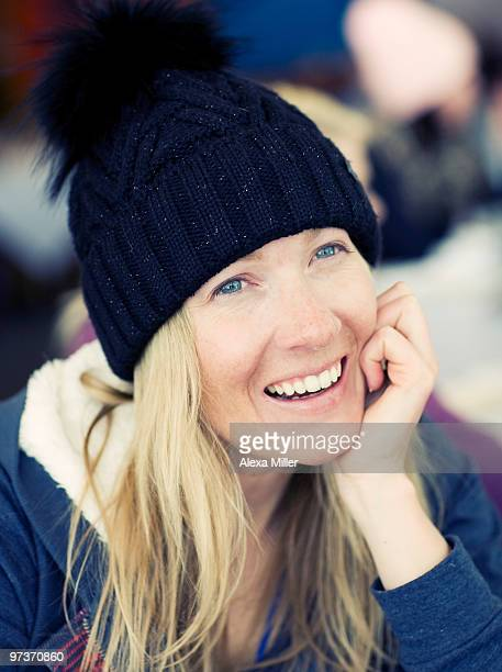 Portrait of woman wearing winter hat