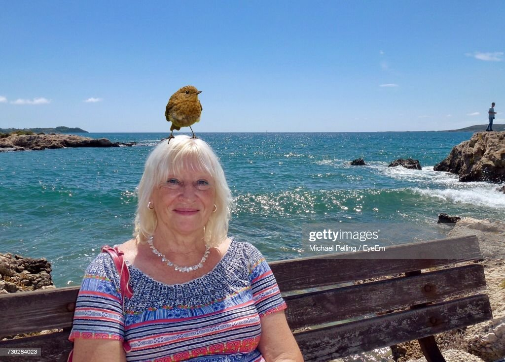 Portrait Of Woman With Bird Sitting On Bench Against Sea : Stock Photo