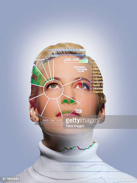 Portrait of woman with charts on face