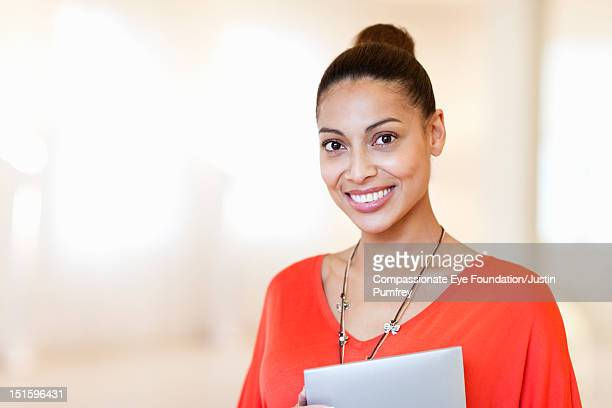 """portrait of woman with digital tablet - """"compassionate eye"""" stock pictures, royalty-free photos & images"""